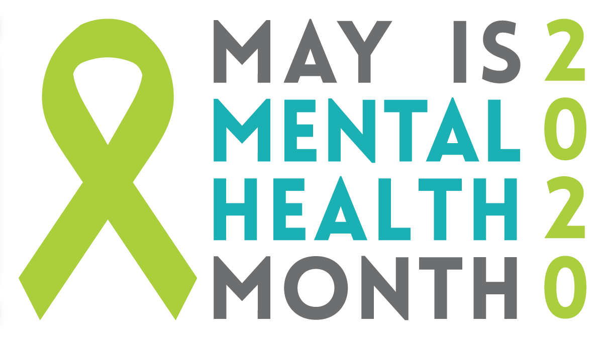 image with ribbon and text May is Mental Health Month 2020
