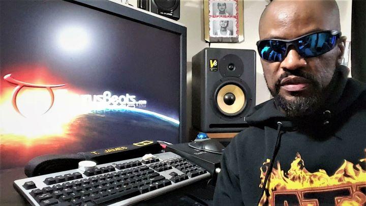 Music Producer TaurusBeats (Taurus James) at his music workstation